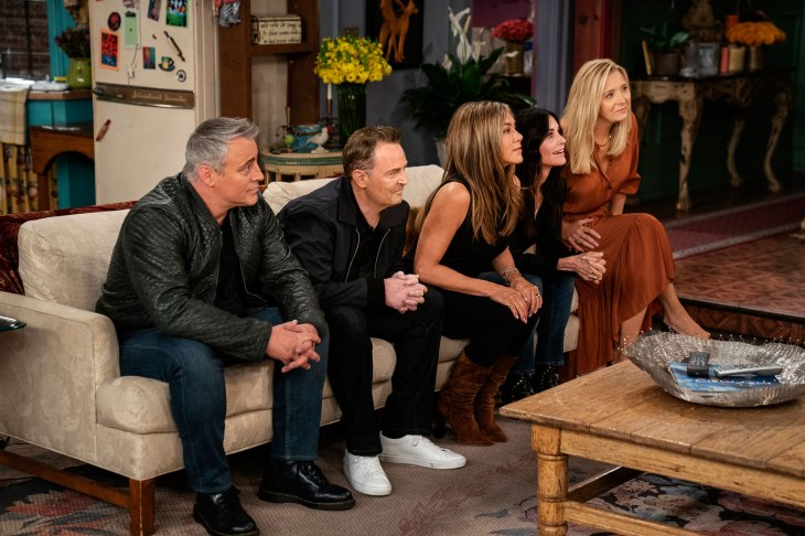 """Matt LeBlanc, Matthew Perry, Jennifer Aniston, Courteney Cox and Lisa Kudrow are seen during the """"Friends"""" reunion. Courtesy of HBO Max"""