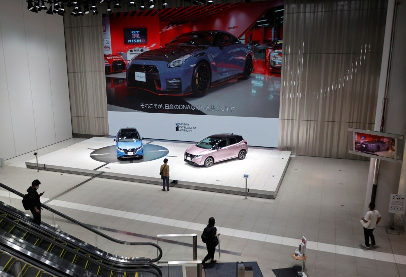 Nissan's compact cars Note, equipped with Nissan's e-Power hybrid technology, are seen at a showroom in Yokohama, Japan, May 21, 2021. REUTERS/Irene Wang