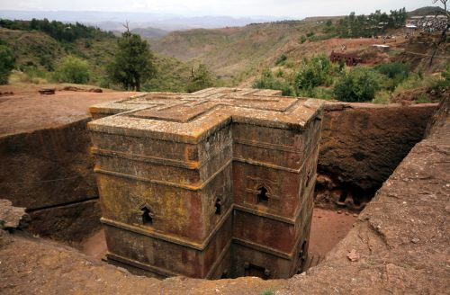 Bet Medhane Alem rock church is seen in Lalibela April 23, 2011. According to legend, angels helped King Lalibela build this church and others like it in the 11th and 12th century after he received an order from God to create a new Jerusalem in Ethiopia. Picture taken April 23, 2011. REUTERS/Flora Bagenal/File Photo