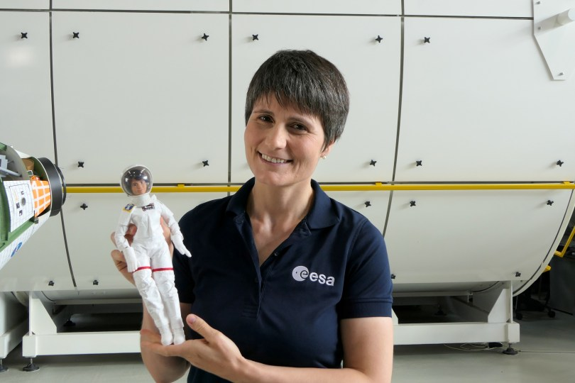 An Italian European Space Agency astronaut Samantha Cristoforetti poses for a photo with a Barbie doll version of herself, in this undated handout photo. Courtesy of ESA/Romy Harink/Handout via REUTERS