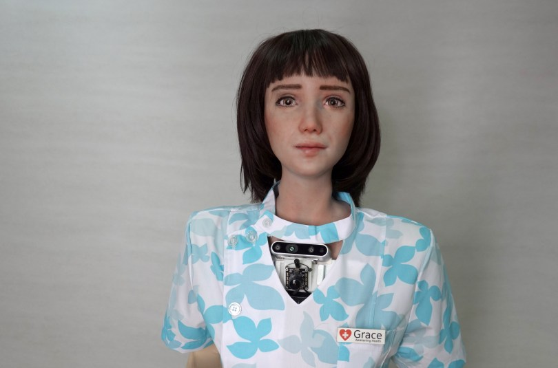Humanoid robot Grace, developed by Hanson Robotics and designed for the healthcare market to interact and comfort the elderly and isolated people, especially those suffering during the coronavirus disease (COVID-19) pandemic, is seen at the company's lab in Hong Kong, China June 8, 2021. REUTERS/Joyce Zhou