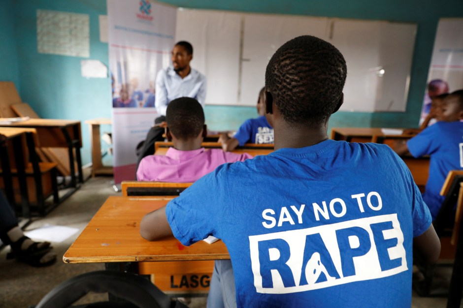 Students are seen in a classroom as they receive lectures about prevention of sexual violence, by a representative of Women at Risk International Foundation (WARIF) at Oregun High School, in Lagos, Nigeria March 31, 2021.  REUTERS/Temilade Adelaja