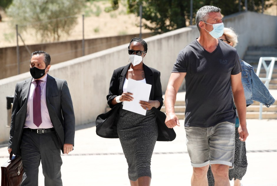Janice McAfee, a wife of John McAfee, arrives at the Brians 2 prison where her husband was found dead in his prison cell after the Spanish high court had authorised his extradition to the U.S., in Sant Esteve Sesrovires, Spain June 25, 2021. REUTERS/Albert Gea