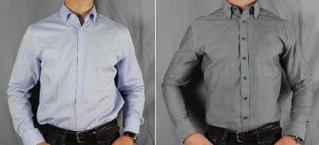 Before   After Tailoring  Merona Ultimate Shirt Before and After blue and grey cham