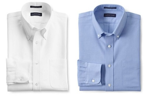LE Tailored Fit Supima Oxford Hyde Park Dress Shirt