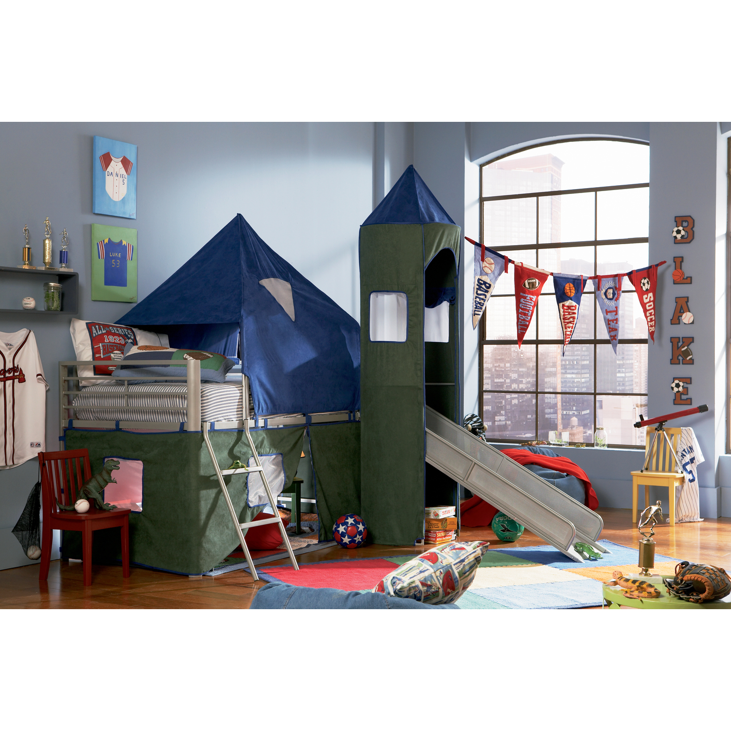 Powell Boys Blue And Green Twin Tent Bunk Bed With Slide