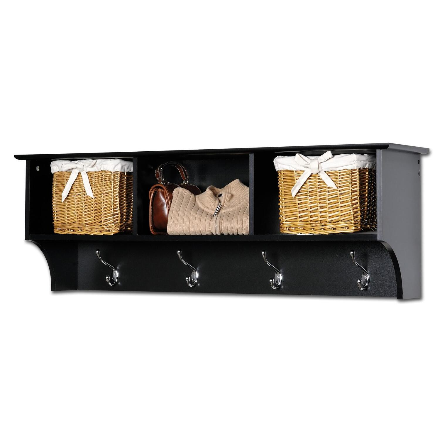 Sonoma Black Cubbie Bench And Wall Coat Rack Set 250 50