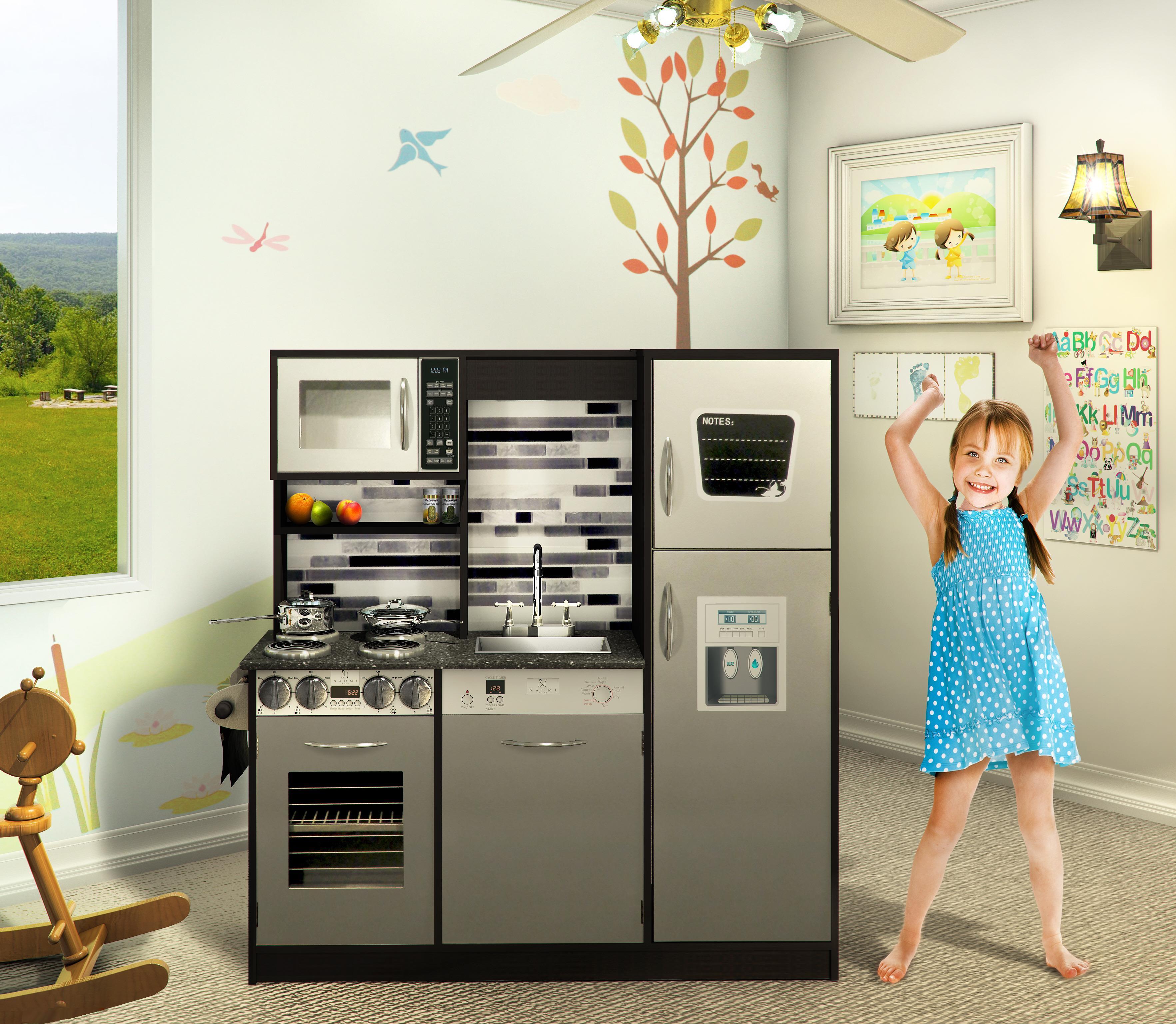 Wooden Play Kitchen Set Kids Toy Kitchen Naomi Home