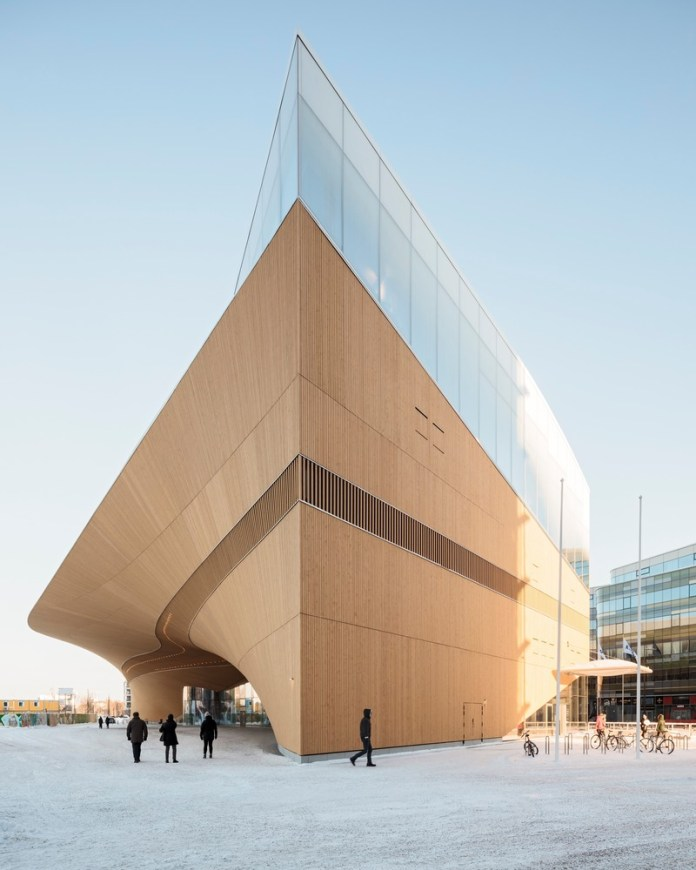 Press kit | 3977-01 - Press release | Helsinki Central Library Oodi - ALA Architects - Institutional Architecture - Exterior View - South-west corner - Photo credit: Tuomas Uusheimo