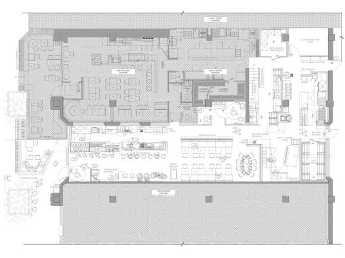Press kit | 1301-03 - Press release | A slice of nostalgia: Atelier Zébulon Perron delivers a 'modern retro' interpretation - Atelier Zébulon Perron - Commercial Interior Design - Floor plan - Photo credit: Atelier Zébulon Perron