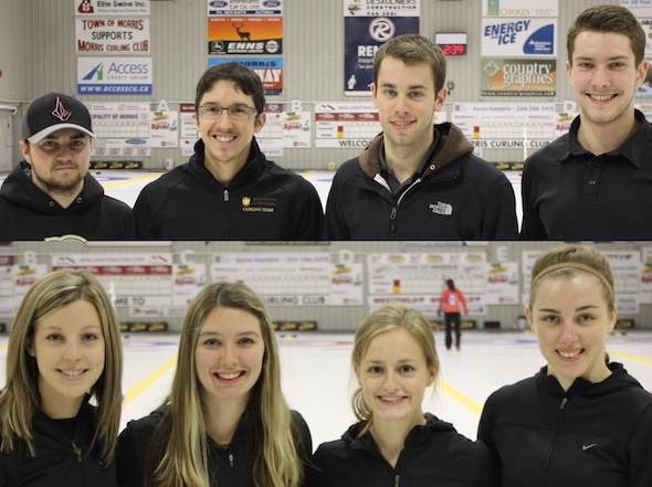 Team Canada for the upcoming Winter Universiade. Top, men's team, skip Matt Dunstone, third William Coleman, second Daniel Grant , lead Chris Gallant. Bottom, women's team, skip Breanne Meakin, third Lauren Horton, second Lynn Kreviazuk, lead Jessica Armstrong. (Photos, CCA/Brian Chick)