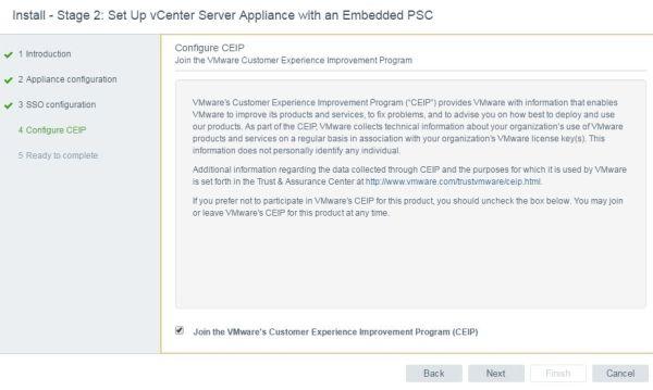 Install VCSA 6.5 - VCSA configure CEIP