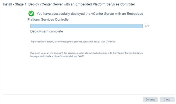 Install VCSA 6.5 - VCSA deployment complete