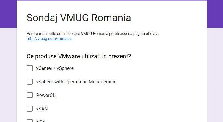 VMUG Romania Survey