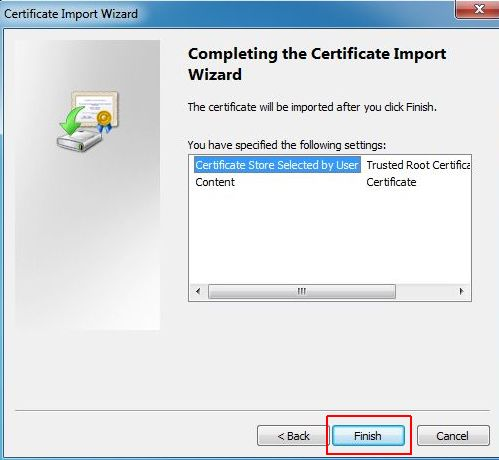 vCenter SSL Certificate - Finish Certificate Wizard