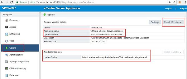 Update vCenter Server Appliance - Done