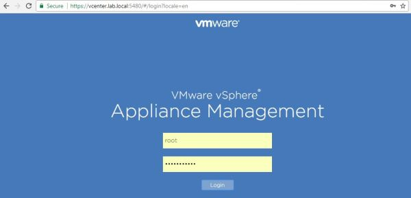 Update vCenter Server Appliance - VAMI Login