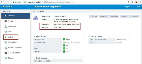 Update vCenter Server Appliance - VCSA Homepage