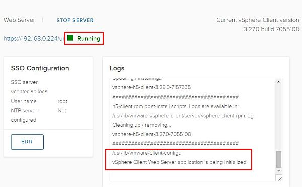 Update vSphere HTML5 Web Client Fling - Running
