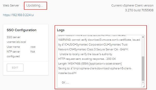 Update vSphere HTML5 Web Client Fling - Updating