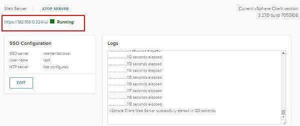 vSphere HTML5 Web Client Fling - Running