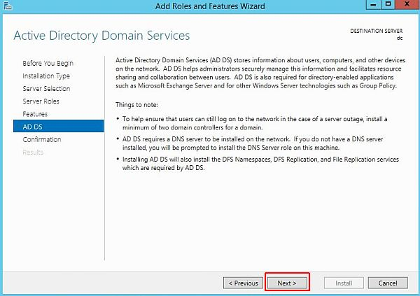 Install Active Directory - Active Directory Domain Services