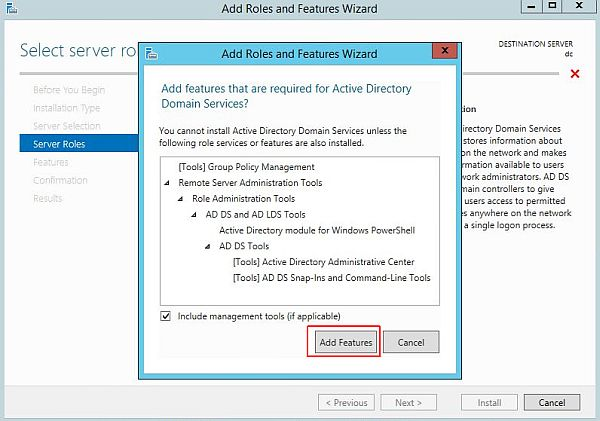 Install Active Directory - Add Features