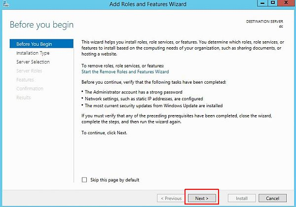 Install Active Directory - Add Roles and Features Wizard
