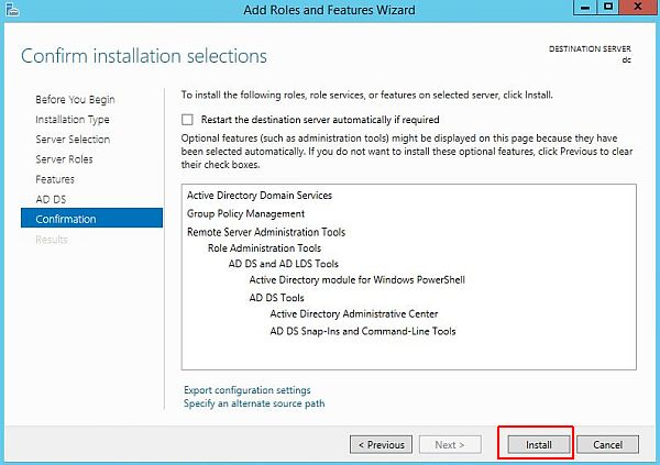 Install Active Directory - Confirm Installation Selection