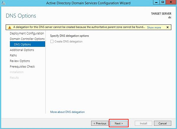 Install Active Directory - DNS Options
