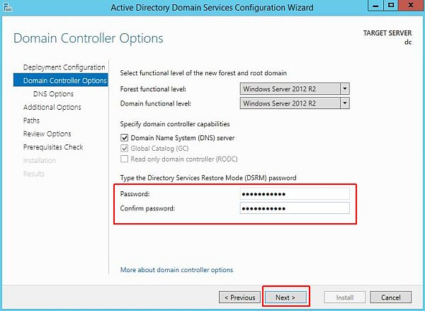 Install Active Directory - Domain Controller Options