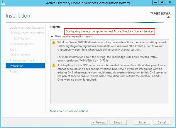 Install Active Directory - Installation