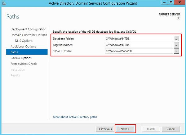 Install Active Directory - Paths