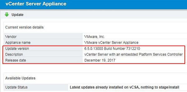 Update vCenter Server Appliance - Check Version