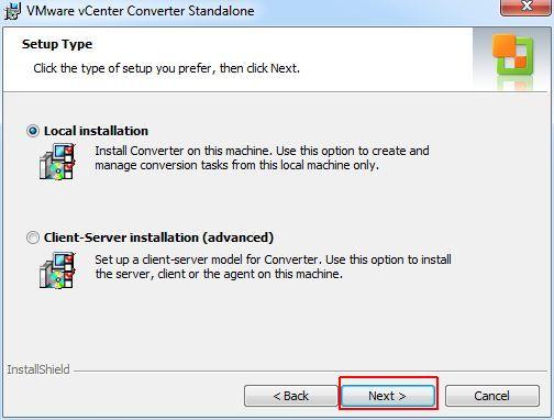 vCenter Converter Standalone - Setup Type