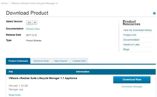 Install vRealize Suite Lifecycle Manager - My VMware