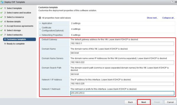 Install vRealize Suite Lifecycle Manager - Network Properties