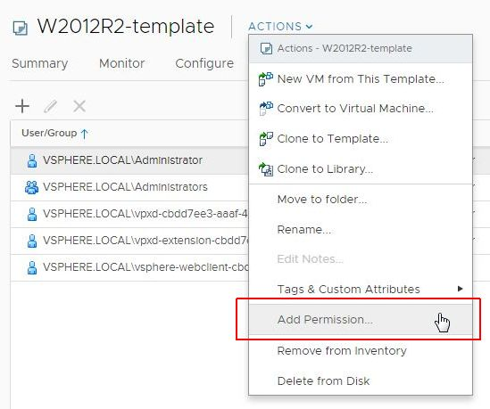 vSphere HTML5 Web Client Fling v3.32 - Add Permission