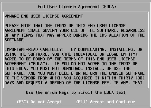 Install vSphere 6.7 - EULA