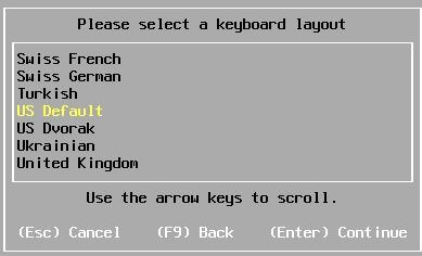 Install vSphere 6.7 - Select Keyboard