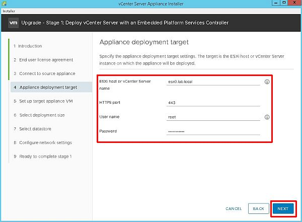 Upgrade vCenter Server Appliance from 6.5 to 6.7 - Appliance Deployment Target