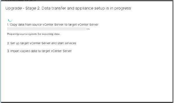 Upgrade vCenter Server Appliance from 6.5 to 6.7 - Data Transfer