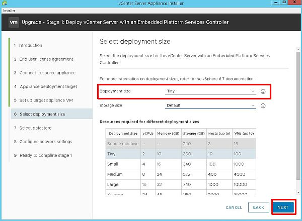 Upgrade vCenter Server Appliance from 6.5 to 6.7 - Select Deployment Size