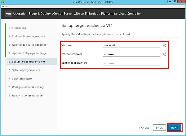 Upgrade vCenter Server Appliance from 6.5 to 6.7 - Setup Target Appliance VM