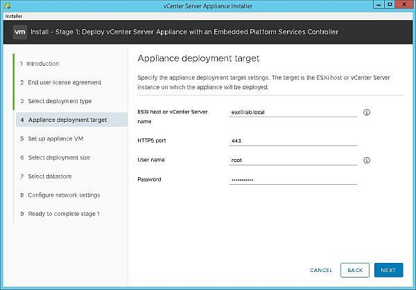 Install VCSA 6.7 - Appliance Deployment Target