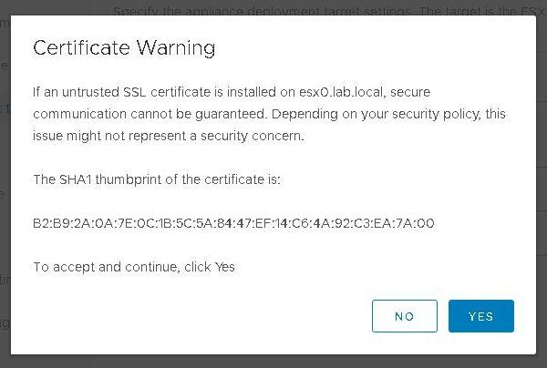 Install VCSA 6.7 - Certificate Warning