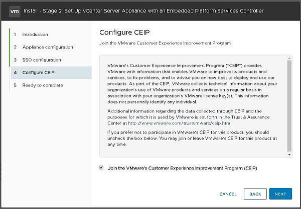 Installer VCSA 6.7 - Configurer le programme d'amélioration de l'expérience client