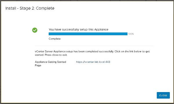 Install VCSA 6.7 - Install Complete