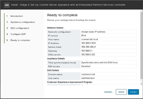 Installez VCSA 6.7 - Étape 2.jpg prête à terminer