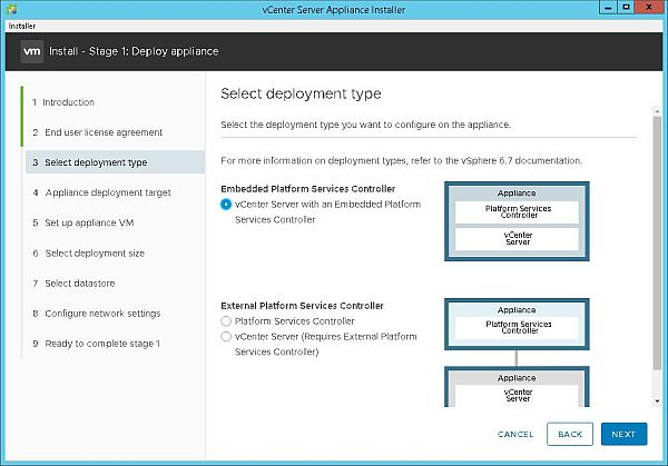 Install VCSA 6.7 - Select Deployment Type